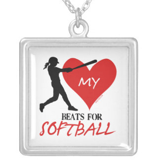 Golly Girls - My Heart Beats for Softball Silver Plated Necklace