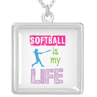 Golly Girls - Softball is My Life Silver Plated Necklace