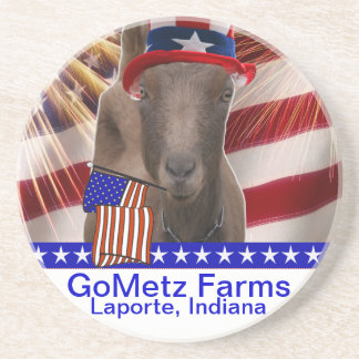 GoMetz Farms Laporte, Indiana  2013 PATRIOTIC GOAT Sandstone Coaster