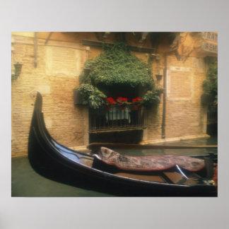 Gondola and Restaurant, Venice, Veneto, Italy Poster