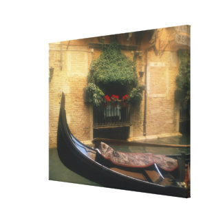 Gondola and Restaurant, Venice, Veneto, Italy Stretched Canvas Print