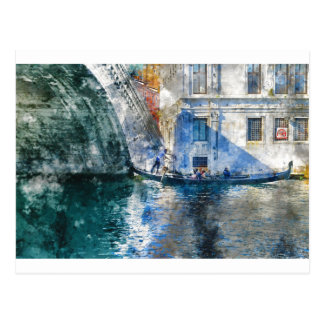 Gondola in the Grand Canal of Venice Italy Postcard