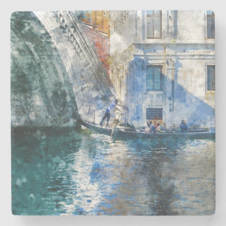 Gondola in the Grand Canal of Venice Italy Stone Coaster