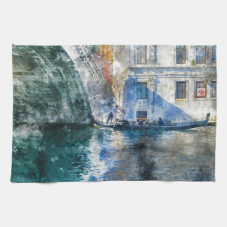 Gondola in the Grand Canal of Venice Italy Tea Towel