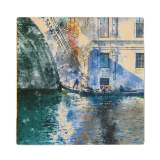 Gondola in the Grand Canal of Venice Italy Wood Coaster