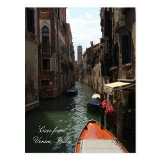 Gondola on Street of Venice Italy Europe Travel Postcard