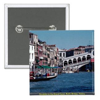 Gondola on the Grand Canal, Rialto Bridge, Venice, 15 Cm Square Badge
