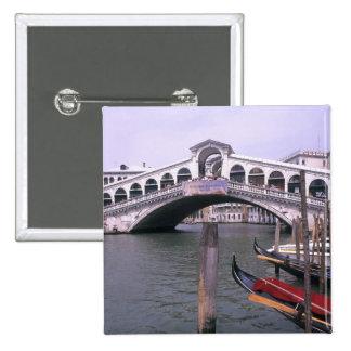 Gondolas and tourists near the Rialto Bridge 15 Cm Square Badge