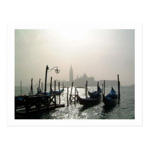 gondolas early morning postcards