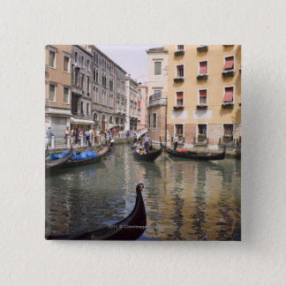 Gondolas in a canal, Venice, Italy 15 Cm Square Badge