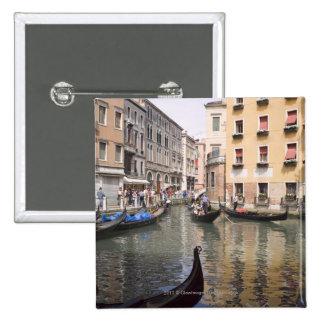 Gondolas in a canal, Venice, Italy 15 Cm Square Badge