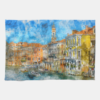 Gondolas in the Grand Canal in Italy Tea Towel