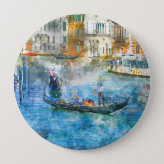 Gondolas in the Grand Canal of Venice Italy 10 Cm Round Badge