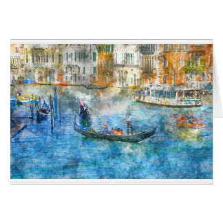 Gondolas in the Grand Canal of Venice Italy Card