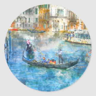 Gondolas in the Grand Canal of Venice Italy Classic Round Sticker