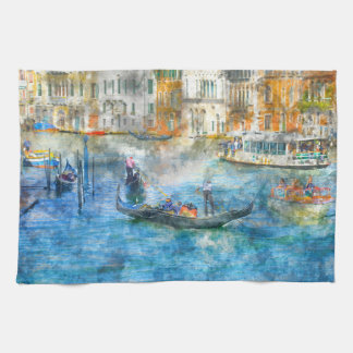 Gondolas in the Grand Canal of Venice Italy Tea Towel