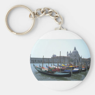Gondolas in the Grand Canal, Venice, Italy Basic Round Button Key Ring