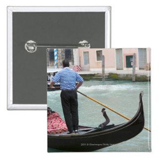 Gondolas in Venice canal Button