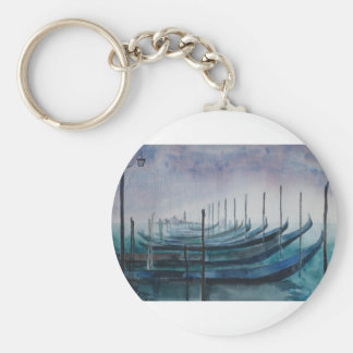 Gondolas of Venice Basic Round Button Key Ring