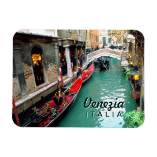 Gondolas On A Small Canal In Venice Rectangular Photo Magnet
