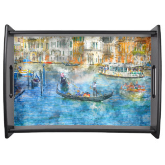Gondolas on the Grand Canal in Venice Italy Serving Tray