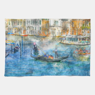 Gondolas on the Grand Canal in Venice Italy Tea Towel