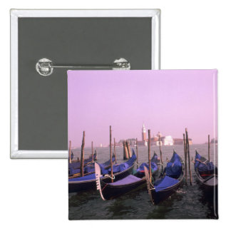 Gondolas ready for tourists in Venice Italy 15 Cm Square Badge