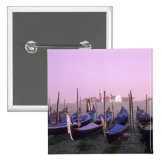 Gondolas ready for tourists in Venice Italy 15 Cm Square Badge