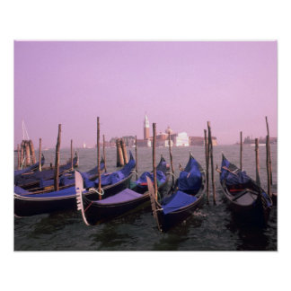 Gondolas ready for tourists in Venice Italy Poster