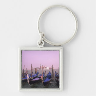 Gondolas ready for tourists in Venice Italy Silver-Colored Square Key Ring