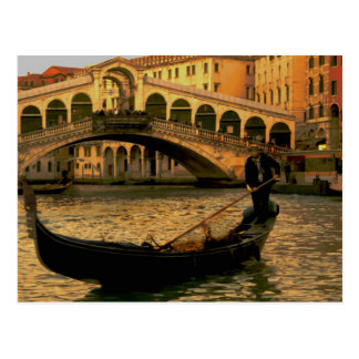 Gondolier and Rialto Bridge, Venice Postcard