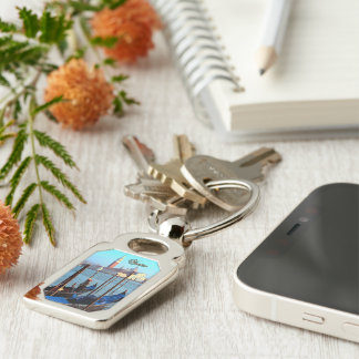 Gondolier Silver-Colored Rectangle Key Ring
