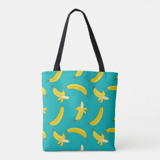 Gone Bananas peel on turquoise illustrated pattern Tote Bag