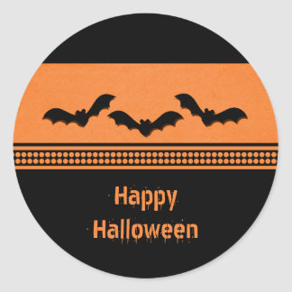 Gone Batty Halloween Stickers, Orange Classic Round Sticker