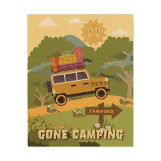 "Gone Camping 8""x10"" Wood Wall Art Wood Print"
