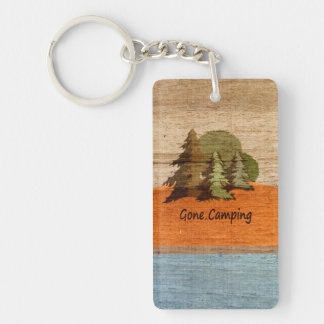 Gone Camping Nature Lovers Personalized Rectangular Acrylic Keychain