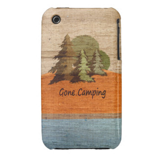 Gone Camping Wood Look Nature Lovers iPhone 3 Covers
