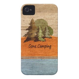 Gone Camping Wood Look Nature Lovers iPhone 4 Case