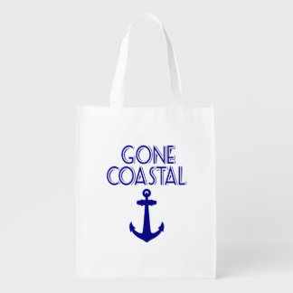 Gone Coastal Navy Blue Anchor Reusable Grocery Bag