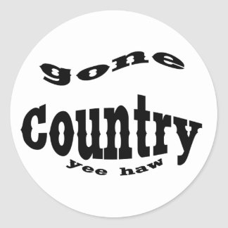 gone country yeehaw round sticker
