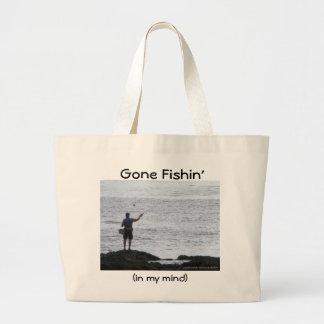Gone Fishin' Large Tote Bag