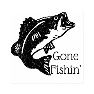 Gone Fishin' Leaping Trout Rubber Stamp