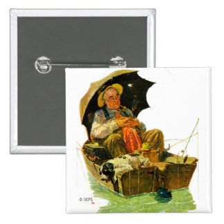 Gone Fishing 15 Cm Square Badge