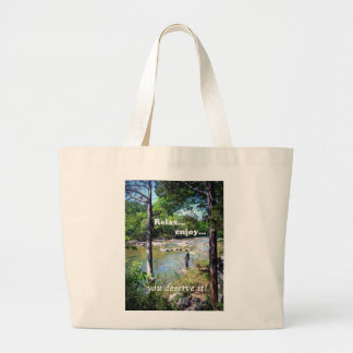 Gone Fishing Card Large Tote Bag