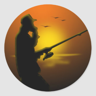 Gone Fishing Classic Round Sticker