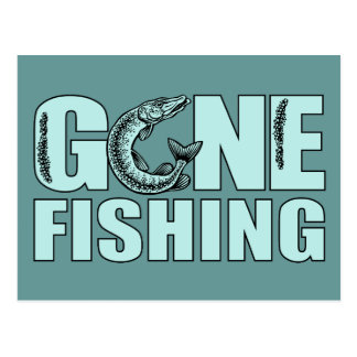 GONE FISHING custom postcard