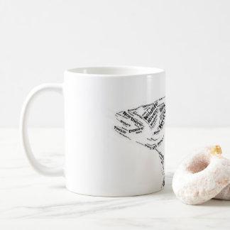 Gone fishing fish shape word cloud coffee mug