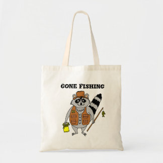 Gone Fishing Fisherman Raccoon Tote Bag