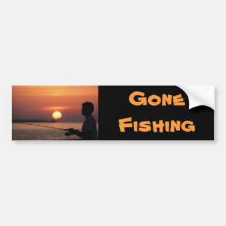 Gone Fishing, man fishing in sunset bumper sticker