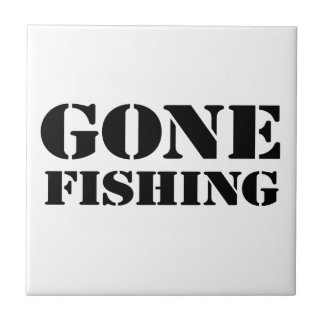 Gone Fishing Small Square Tile